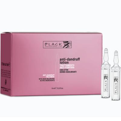 FIALE ANTIFORFORA E PURIFICANTI PER CAPELLI 12 X 10 ml. BLACK PROFESSIONAL
