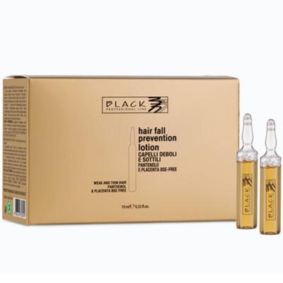 FIALE ANTICADUTA RINFORZANTI PER CAPELLI DEBOLI E SOTTILI 12 X 10 ml. BLACK PROFESSIONAL