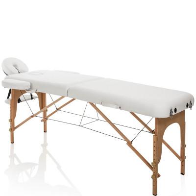 Lettino Massaggio Pieghevole in Legno Bianco Portatile e Regolabile