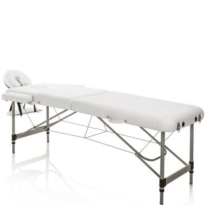 Lettino Massaggio Pieghevole Alluminio Bianco Portatile